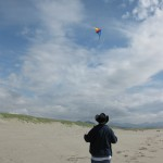 Flying a kite at the Oregon Coast
